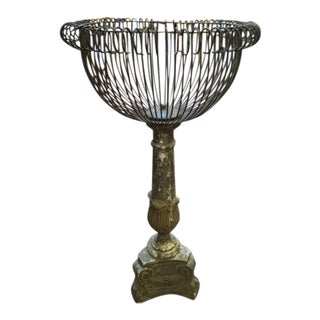 1890 Vintage Victorian Cast Metal and Concrete Wire Basket Plant Stand For Sale