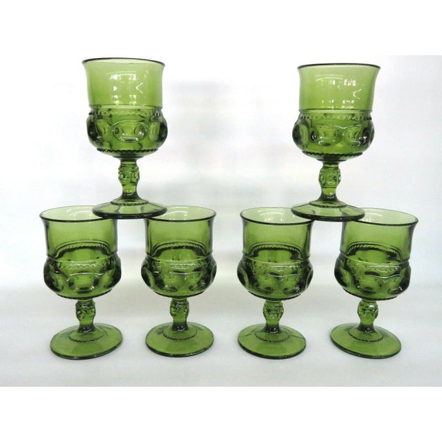 Mid-Century Modern Indiana Glass Kings Crown Thumbprint Green Set of 6 Wine Cordial Goblets For Sale - Image 3 of 11