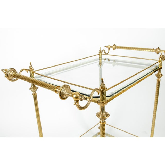 Gold Vintage Solid Brass / Glass Shelves Two-Tier Bar Cart For Sale - Image 8 of 13