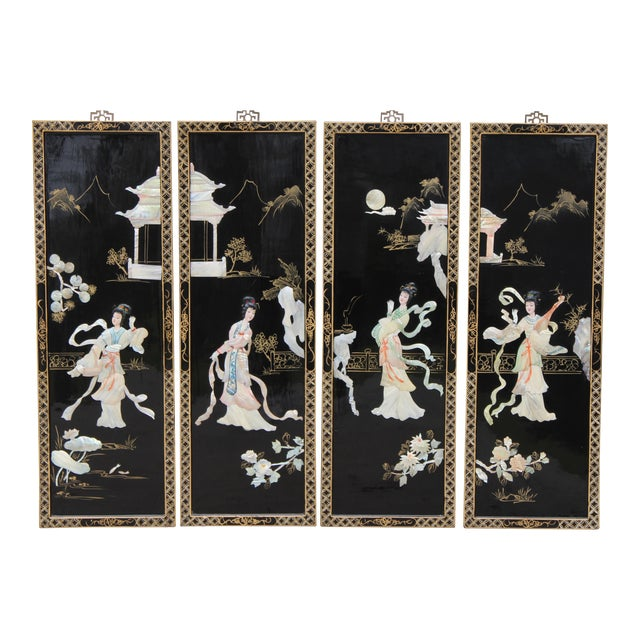 Asian Wall Panels Depicting Chinese Performers or Geishas For Sale