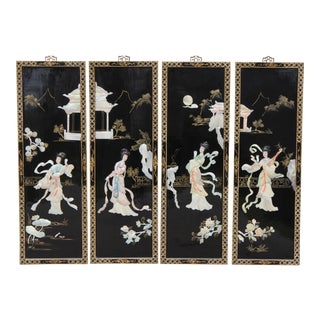 Mother of Pearl Wall Panels Depicting Images of a Geisha For Sale