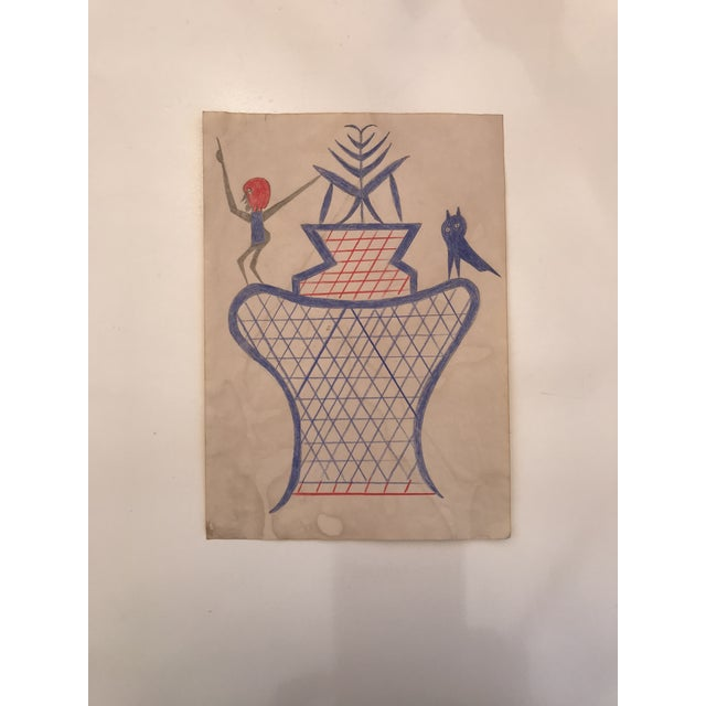 Bill Traylor Inspired Outsider Art Drawing For Sale - Image 4 of 4
