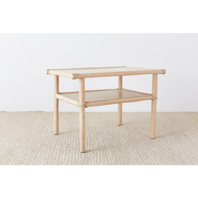 Contemporary McGuire Bamboo Rattan Two-Tier Cerused Side Table For Sale - Image 3 of 11