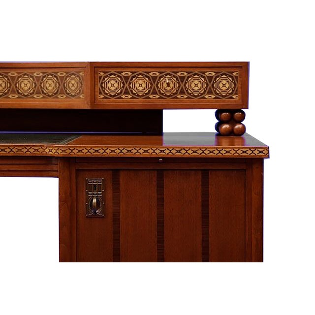 An exceptional German Jugendstil period desk based on a design by Joseph Maria Olbrich and made by Moritz Ballin,...