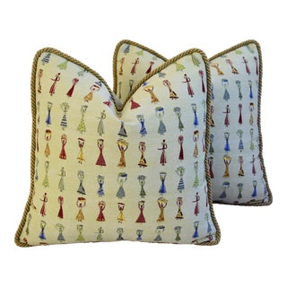Designer Donghia Au Marche Jacquard Feather/Down Pillows - A Pair For Sale