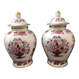 Limoges Porcelain Covered Jars - a Pair For Sale