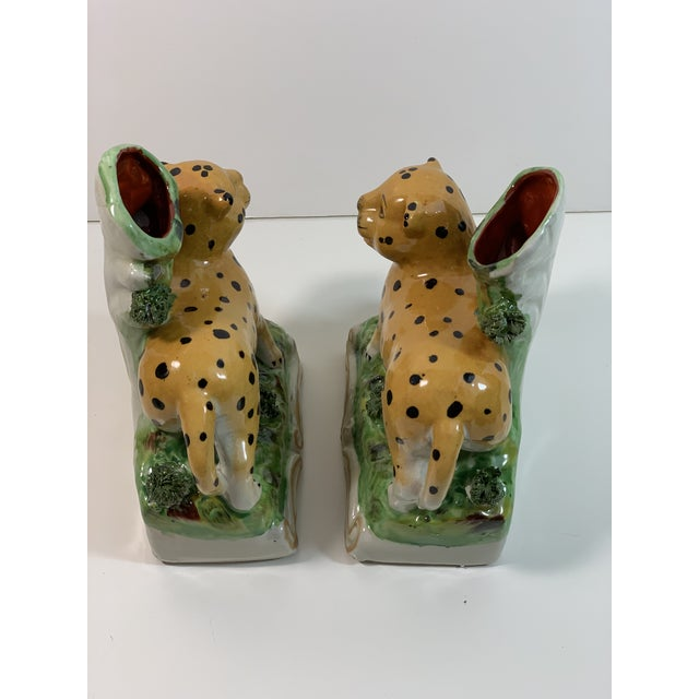 Vintage Staffordshire Style Leopard Spill Vases - a Pair For Sale In Atlanta - Image 6 of 11