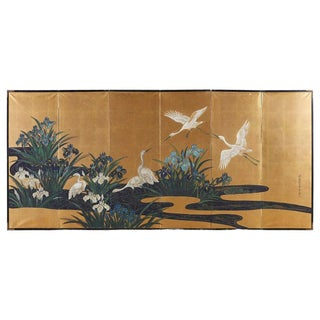 Japanese Six-Panel Meiji Screen of Egrets on Gold Leaf For Sale