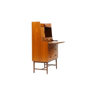 Danish Modern / Mid Century Teak + Mahogany Secretary Desk — Oval Pulls For Sale