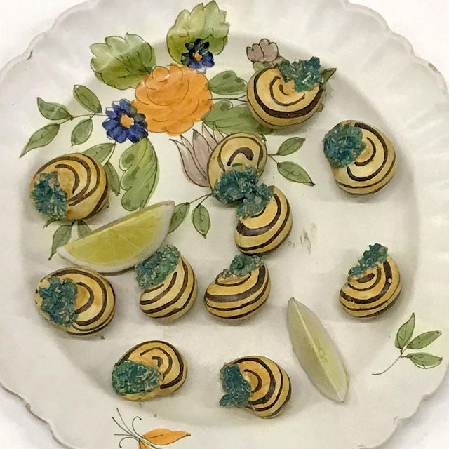 Amazing Majolica trompe l'œil plate of escargots, circa 1960s. Made in Italy, signed on reverse. Exquisitely crafted. Hand...