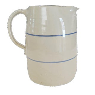 Vintage Blue White Striped Pottery Stoneware Crock Pitcher