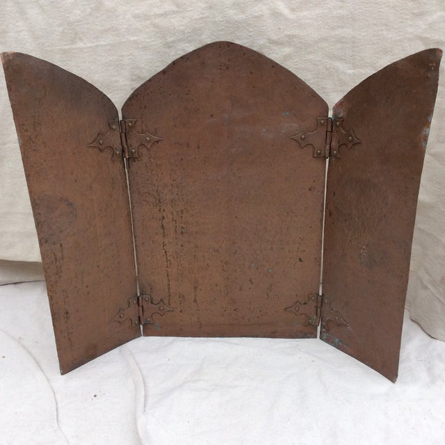 Antique Hammered Copper Folding Screen For Sale - Image 10 of 10