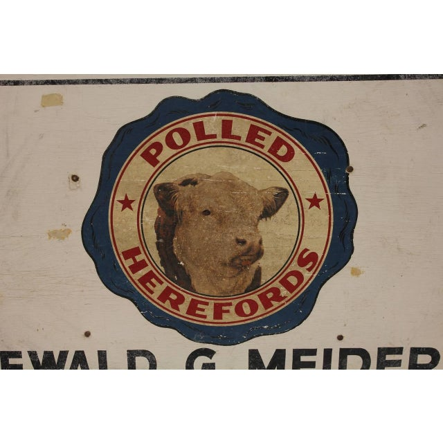 Rustic 1950's Vintage Wood Bull Hillspring Farm Sign For Sale - Image 3 of 3