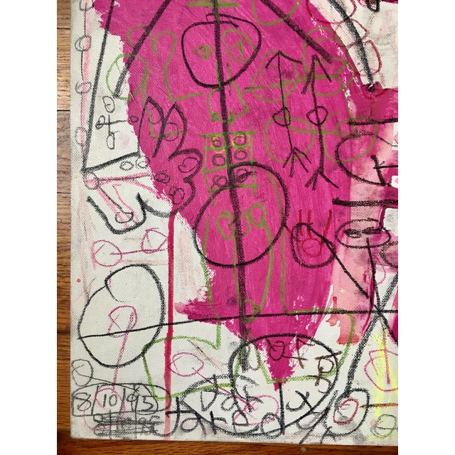 Neo-expressionist, primitivist pink piece, on board - signed and dated, Jared, 8/10/95. Really exceptional. I bought this...