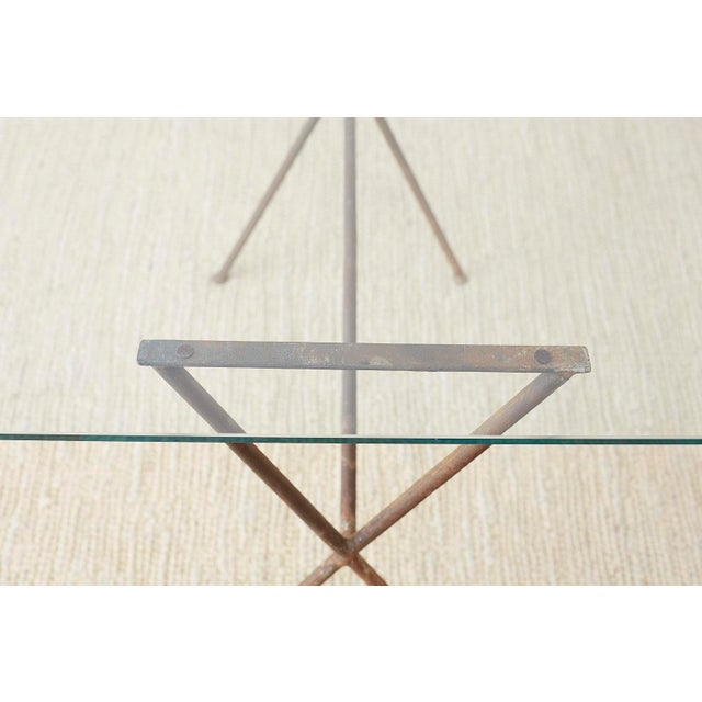 Brown Midcentury Glass Table With Iron X Form Sawhorse Legs For Sale - Image 8 of 13