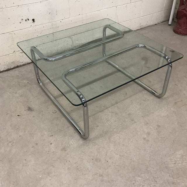 Mid-Century Modern Mid Century Tubular Chrome Cocktail Table For Sale - Image 3 of 9