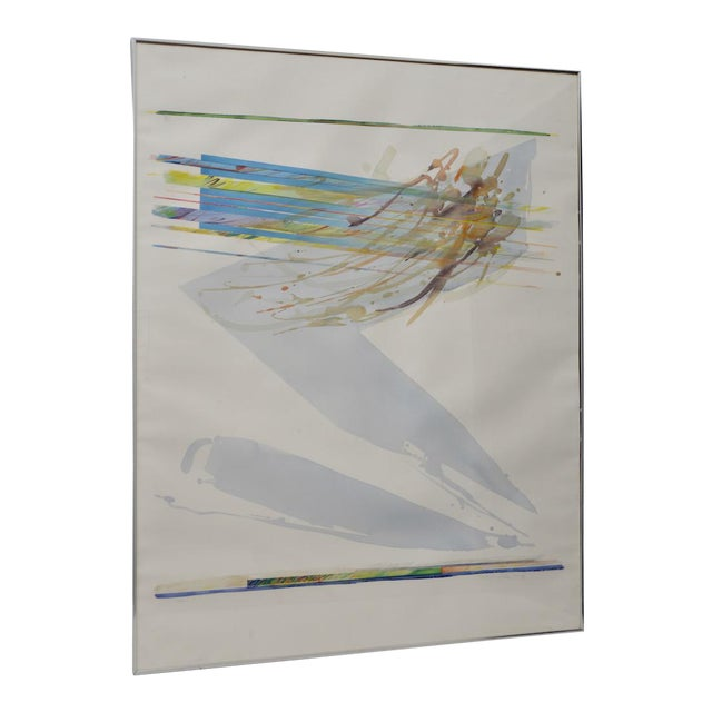"""Peter Kitchell """"Zorro"""" Monumental Abstract Watercolor c.1979 For Sale"""