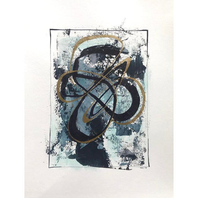 """Blue Modern Original """"Orbits and Comets"""" Mixed Media by Christy Almond For Sale - Image 8 of 12"""