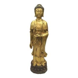 Chinese Art Gold Gilt Bronze Standing Kwan Yin Sculpture For Sale