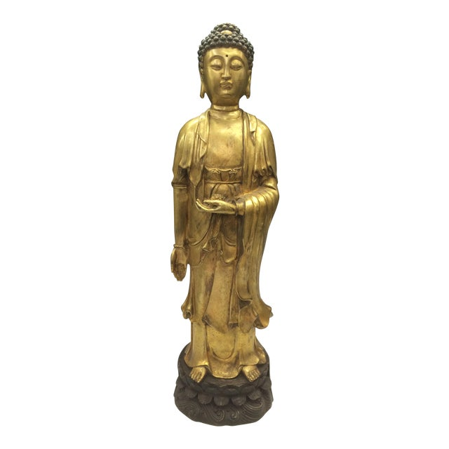 Chinese Art Gold Gilt Bronze Standing Kwan Yin Sculpture - Image 1 of 10