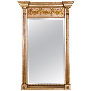 Italian Console Mirror Having Silver Leaf Eglomise Design by LaBarge For Sale