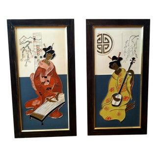Mid Century Japanese Geisha Art Panels, Pair For Sale