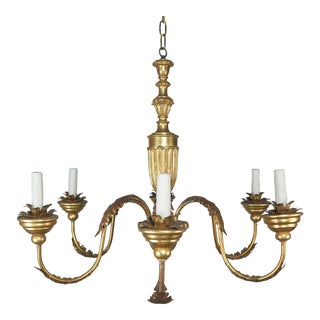 Six-Light Italian Gilt Wood and Metal Chandelier For Sale