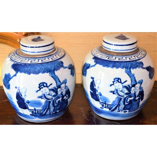 Chinoiserie Ginger Jars With Deities - A Pair For Sale - Image 4 of 10
