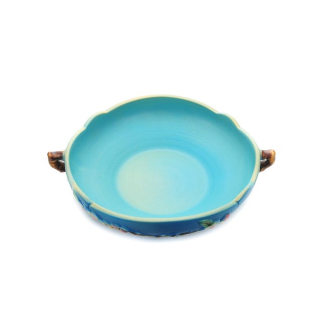 """Roseville antique pottery beautiful 10"""" blue bowl with handles. A beautiful piece that will add to your décor!"""