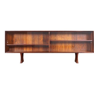 Danish Low Profile Rosewood Bookcase by Bernhard Pederson For Sale