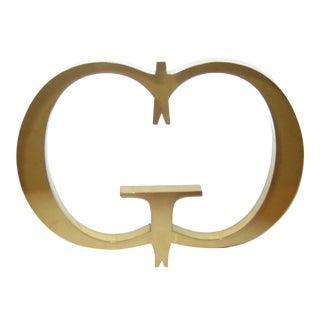 """Vintage Gold """"G G"""" Designer Monogram Retail Store Signage Logo For Sale"""