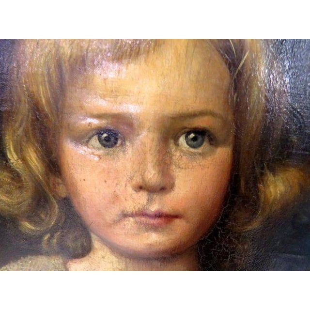 Oil on Canvas Portrait of 2 Children For Sale - Image 4 of 8
