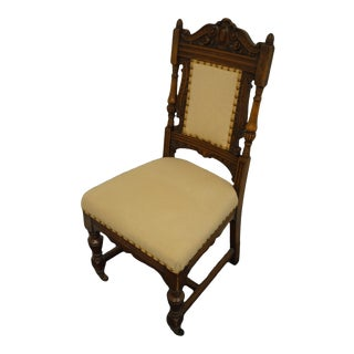 Vintage Antique Walnut Gothic Revival Jacobean Dining Side Chair For Sale