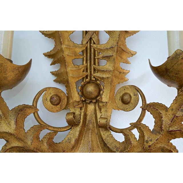 Large Scale Art Deco Revival Gold-Bronze Finish Two-Light Wall Sconces - a Pair For Sale In West Palm - Image 6 of 9