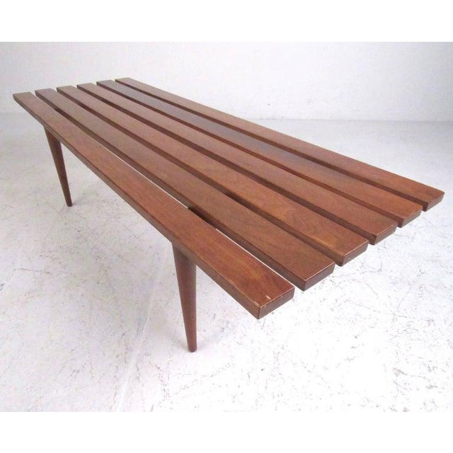 Mid-Century Modern Slat Bench Coffee Table For Sale - Image 4 of 11