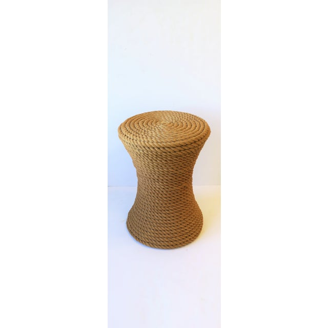 """A great round nautical rope side, end, or drinks table with hourglass design. Table measures: 15.5"""" diameter x 20.75"""" height"""