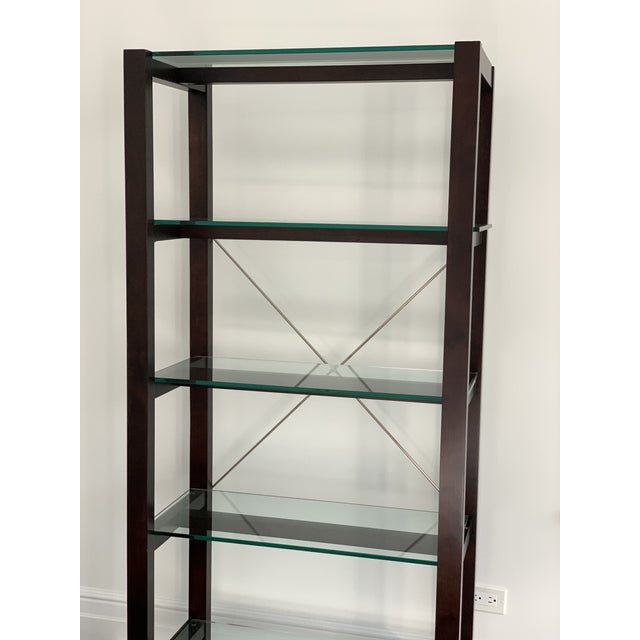 Williams Sonoma Home 5-shelved glass Wood-framed Bookcase. Condition: Very Good. Perfect for Home Office, Study, or...