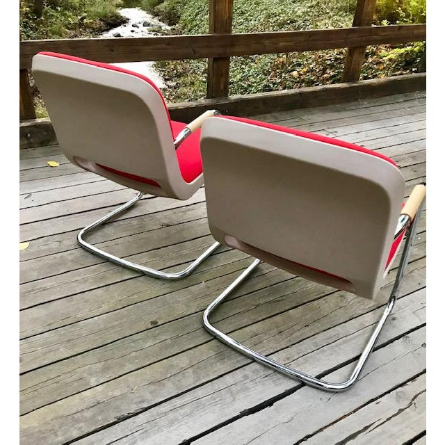 Modern Vintage Chrome and Red Fabric Cantilever Steelcase Arm Chairs- a Pair For Sale - Image 3 of 10