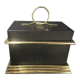 Large Italian Regency Art Deco Brass Crocodile Box For Sale