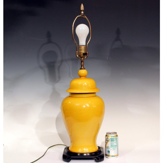Vintage Large Japanese Crackle Glaze Yellow Zen Temple Jar Pottery Table Lamp For Sale - Image 13 of 13