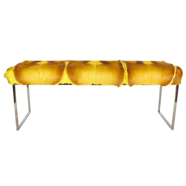 Organic Modern African Springbok Fur Bench in Vibrant Yellow For Sale - Image 9 of 9