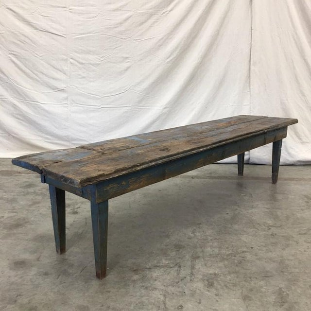 Mid 19th Century French Antique Painted Rustic Long Bench Hall Bench For Sale - Image 5 of 8