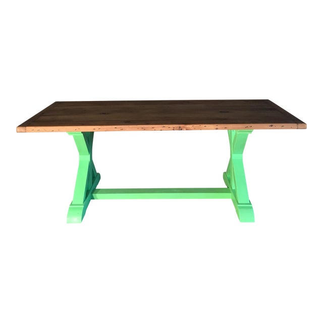 Green Painted Pine Farm Table For Sale