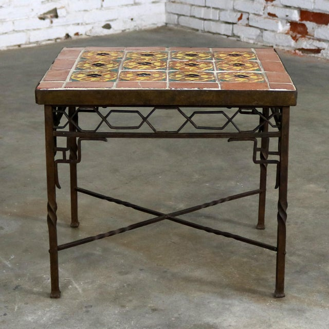 Art Deco Wrought Iron and Tile Side Table California Style Tiles For Sale - Image 4 of 11