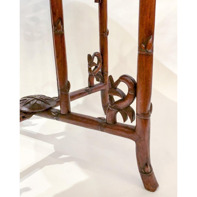 Antique English Carved Teakwood Tray with Stand, Handsome Grain and Color, Circa 1880 For Sale - Image 4 of 6