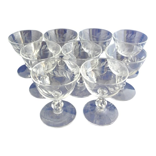 Antique Etched Crystal Champagne Coupes - Set of 9 For Sale