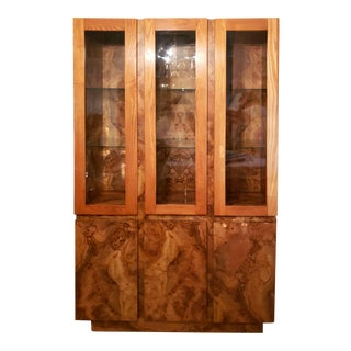 Vintage Burl Wood China Cabinet With Light For Sale