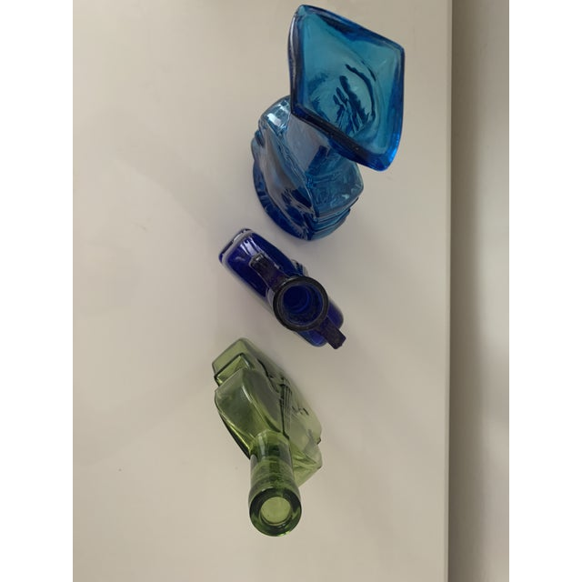 Mid 20th Century Vintage Blue and Green Cello & Violin Colored Glass Vases - Set of 3 For Sale - Image 5 of 9