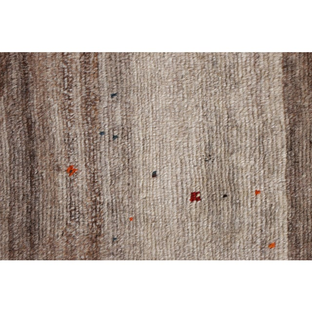 Rug & Kilim Hand-Knotted Mid-Century Vintage Gabbeh Rug in Gray Red Tribal Geometric Pattern For Sale - Image 4 of 5