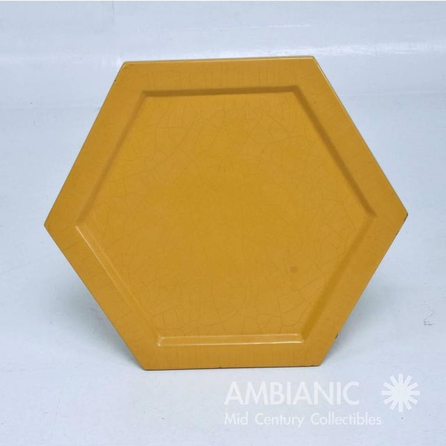Yellow Lacquer Finish Hexagon Side Table For Sale In San Diego - Image 6 of 6